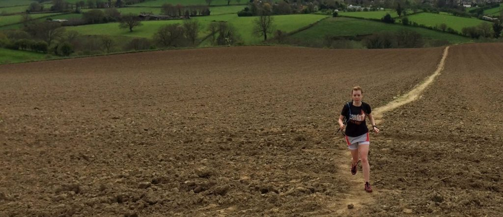 Enjoying a hard packed field section of the Cotswold Way