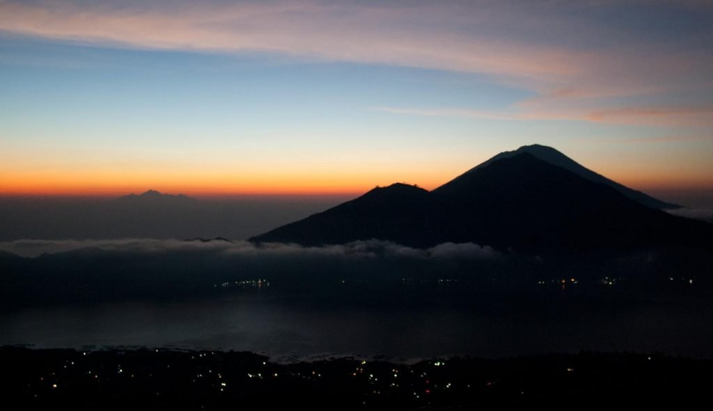 View across to Mount Agung before sunrise