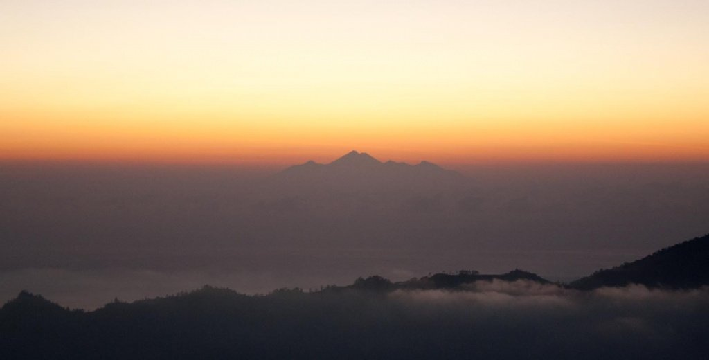 View across to Lombok from Mount Batur at sunrise