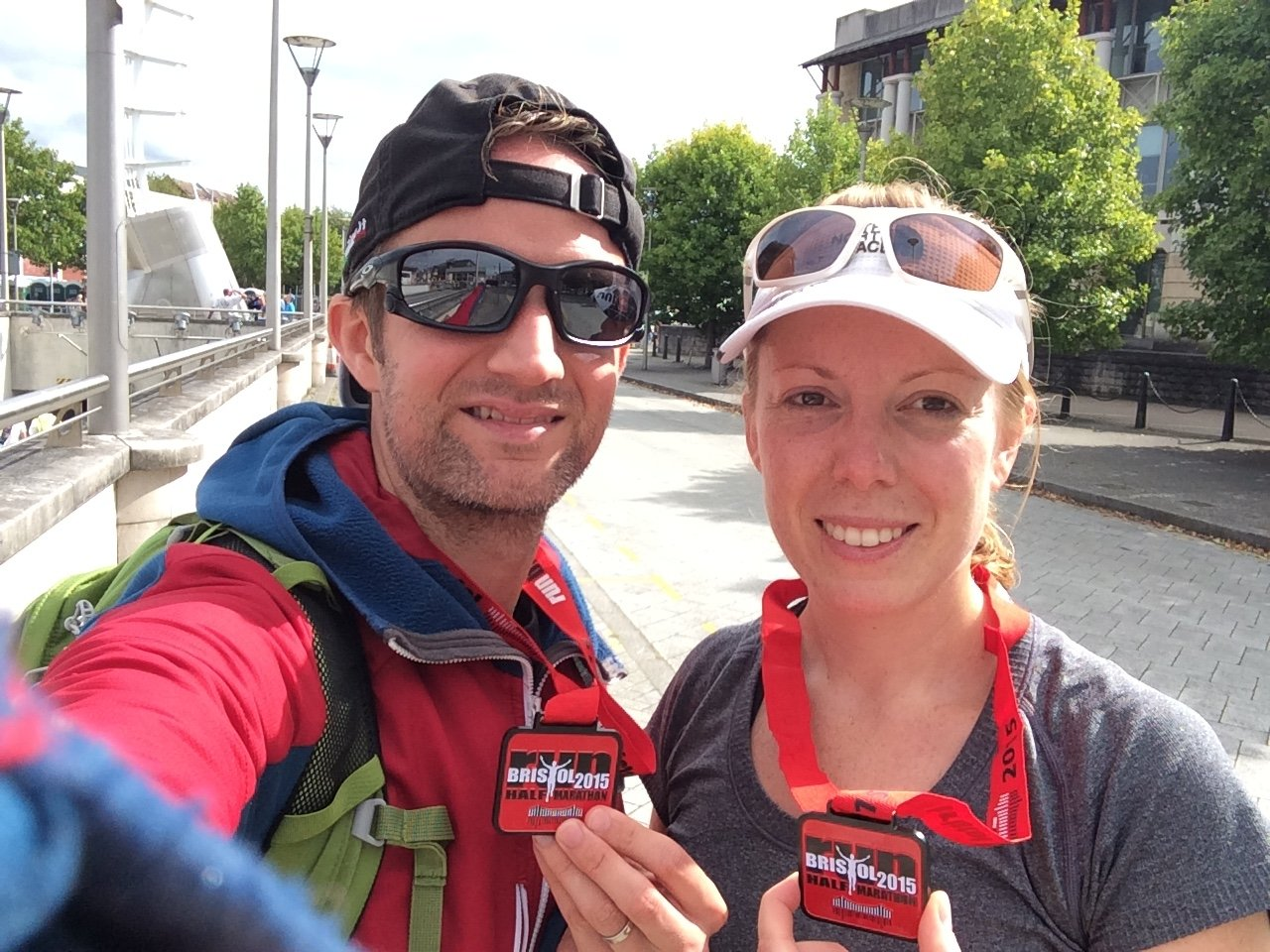 oakley red jacket xj5i  They generally look good and fit well Post Bristol Half Marathon selfie  with Helen