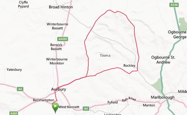 Avebury 25k loop route