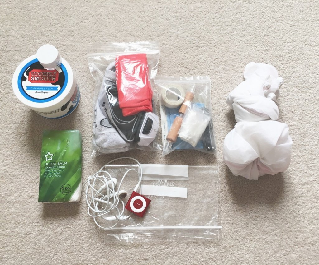 Runners medical kit, plus headtorch, Buff, ipod and Salomon S-Lab windproof jacket