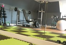Home gym fitness equipment with weights and mats