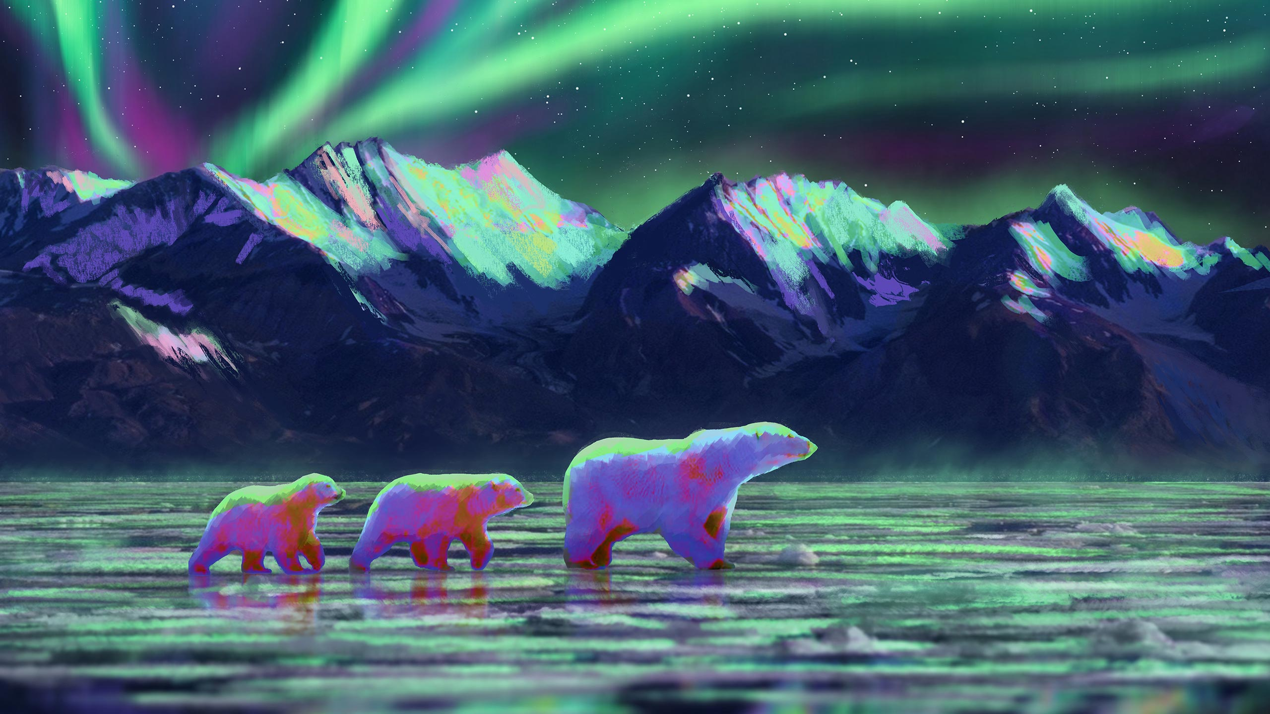 Trail & Kale Aurora Polar Bears and Mountains