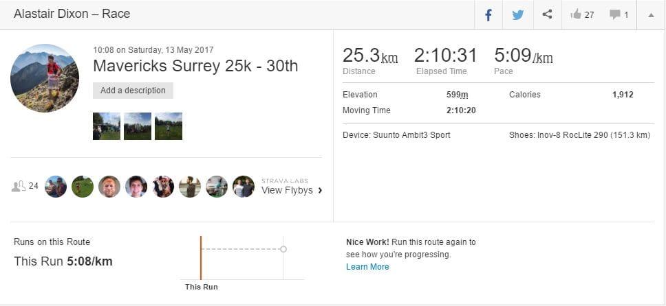 Maverick Race Surrey 25k overview
