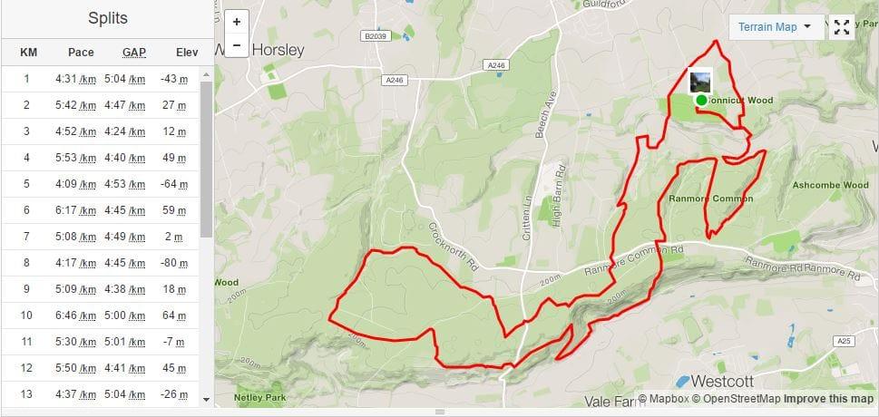 Maverick Race Surrey 25k route