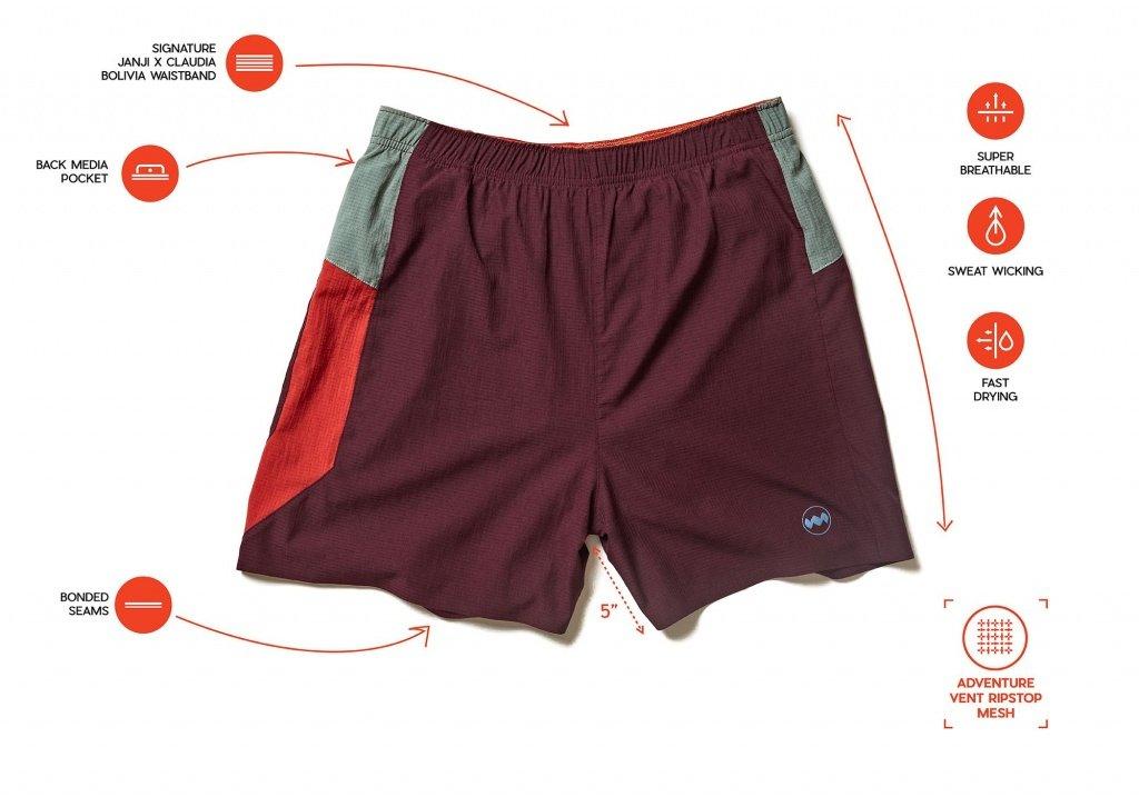 Janji bolivia mens 5 Middle Short features