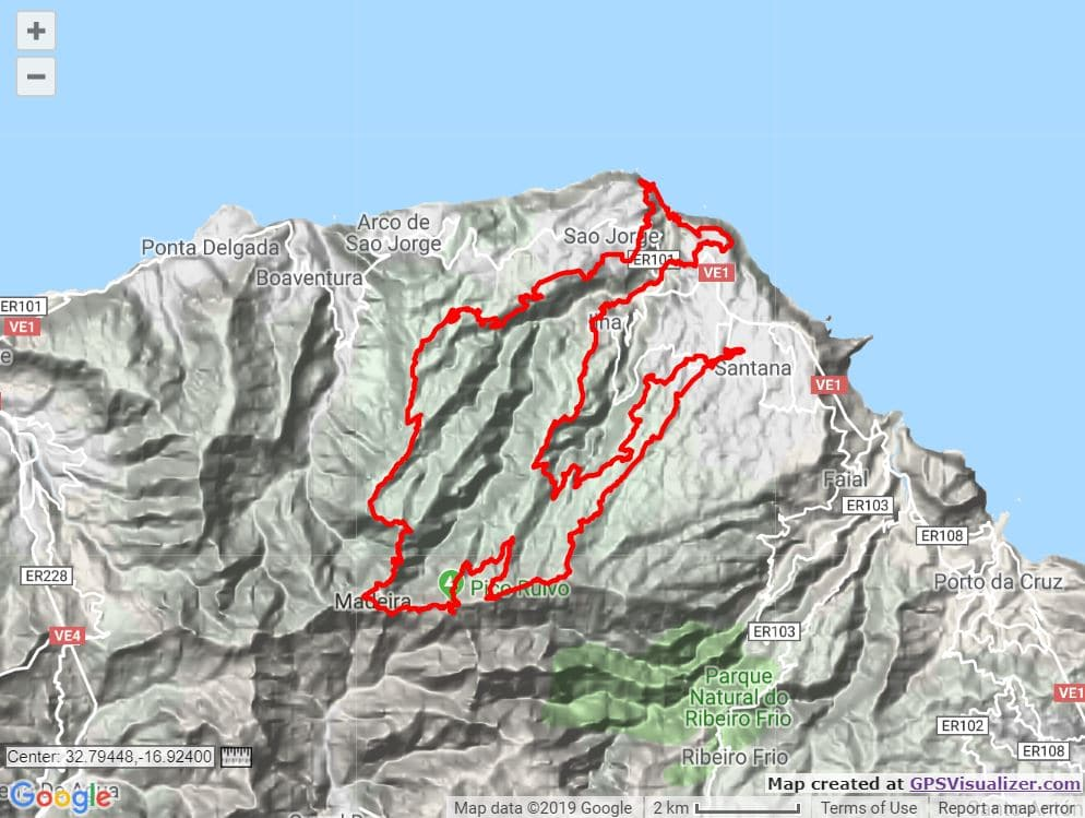Maderia Skyrace route map trail and kale