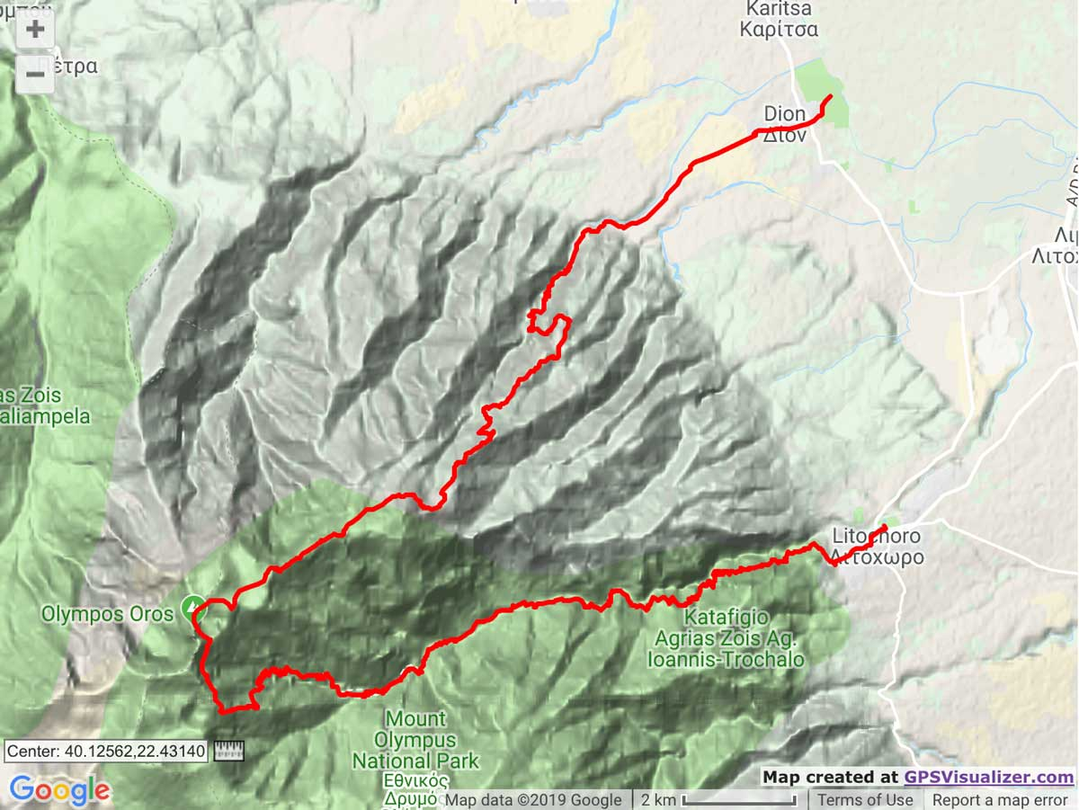 Olympus Marathon route map trail and kale