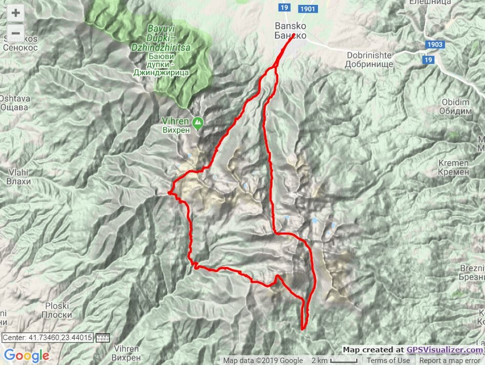 Pirin Ultra SkyRace course map trail and kale