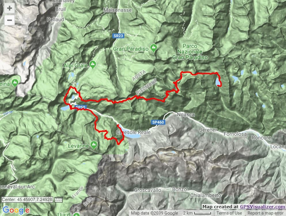 Royal Ultra SkyMarathon Gran Paradiso route map trail and kale