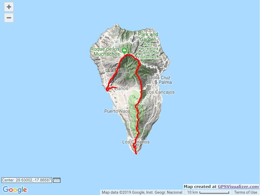 Transvulcania ultramarathon course map trail and kale
