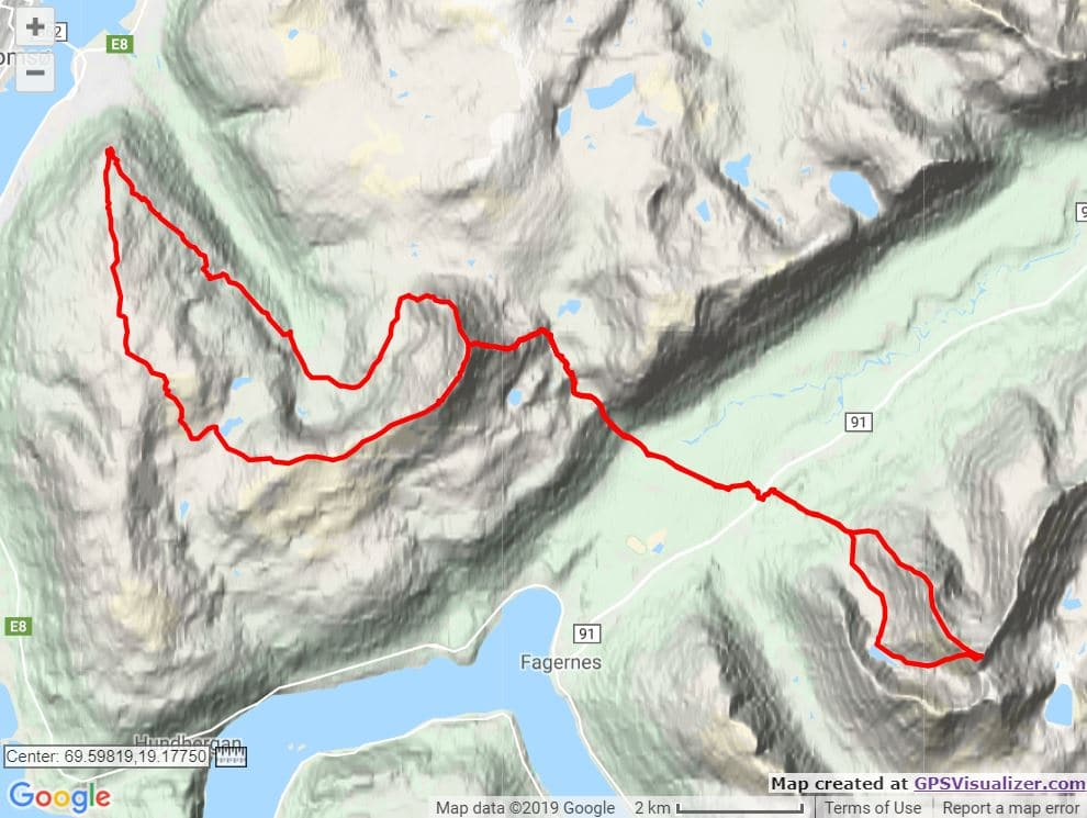Tromso Skyrace course map trail and kale