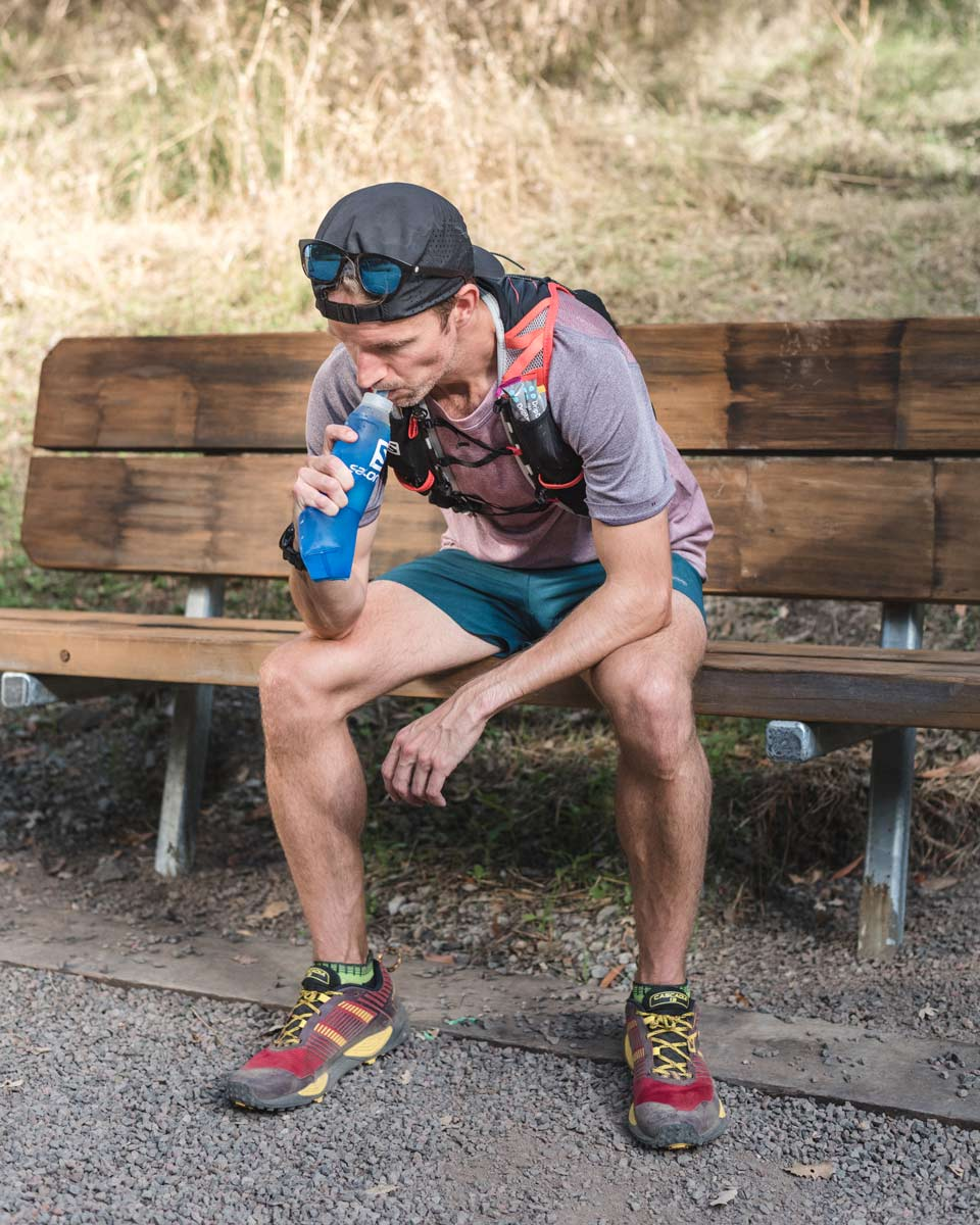 Alastair rehydrating with Drip Drop Electrolytes Is trail running dangerous trail and kale