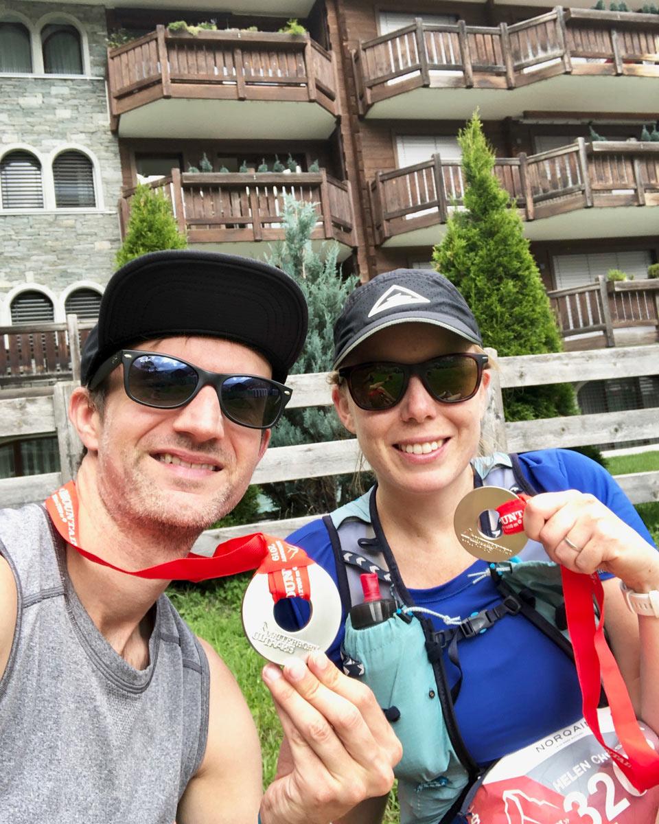 Matterhorn Ultraks 30k Alastair and Helen medal photo Trail Kale