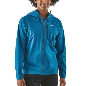 Patagonia Storm Racer Jacket worn by a model Best waterproof running jackets trail kale