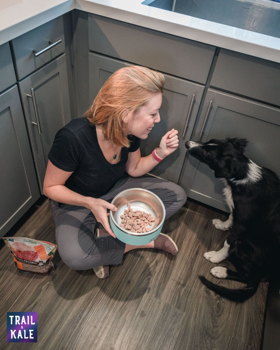 Accelerating our puppys training using high value dog food Freshpet trail and kale web wm 4