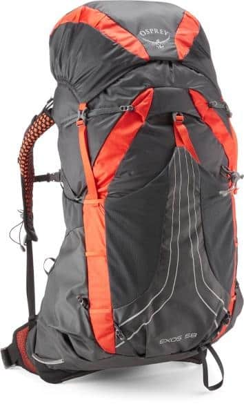 Osprey Exos 58 Pack Mens trail and kale