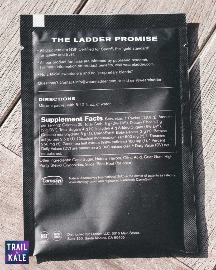 Ladder Pre-Workout Ingredients