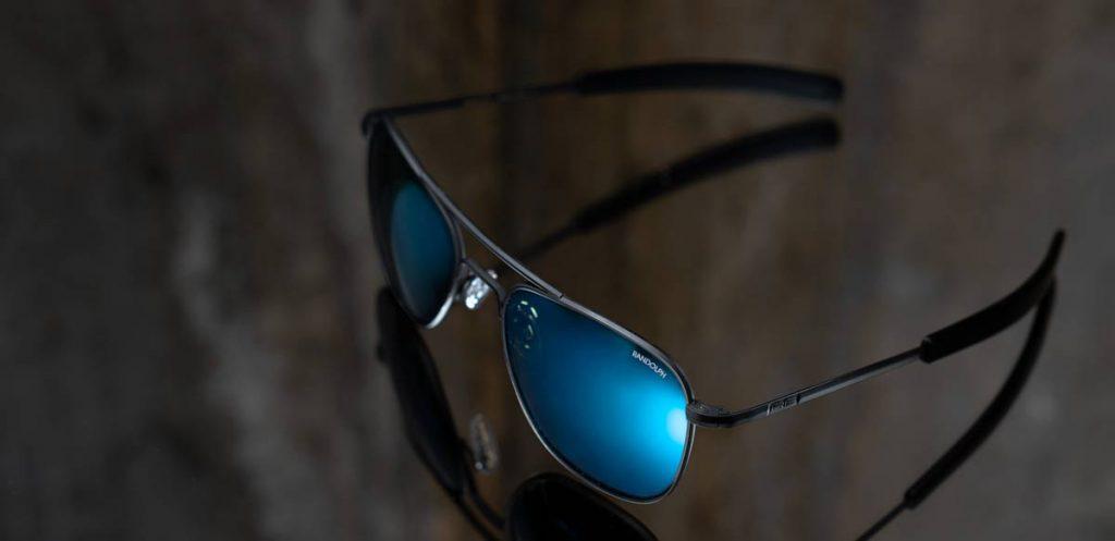 randolph aviator matte black with polarized cobalt lenses