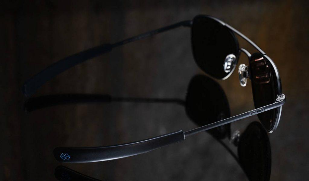 randolph aviator matte black with polarized cobalt lenses trail and kale 1