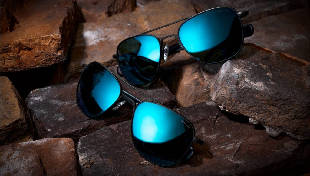 randolph aviator matte black with polarized cobalt lenses trail and kale 7