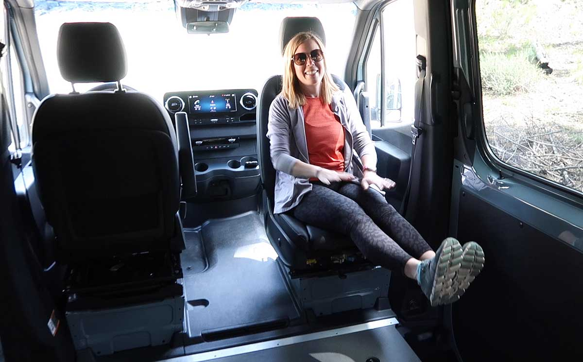 essential factory options for our Sprinter van conversion - factory-installed swivel seats