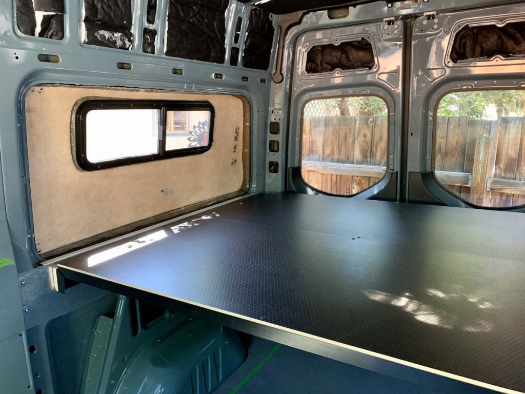 flarespace flares and bed in 144 sprinter van conversion 2 trail and kale