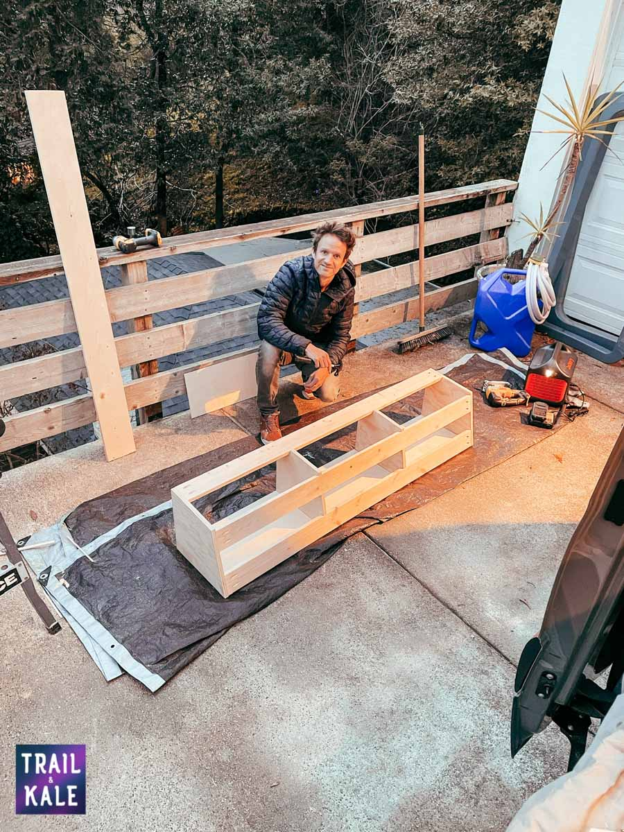 DIY Sprinter van build van conversion cabinets trail and kale web wm 7