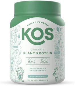 KOS Unflavored Protein Powder Best Plant Based protein powders for runners trail and kale