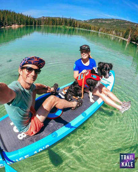 stand up paddle boarding with a dog Trail and Kale