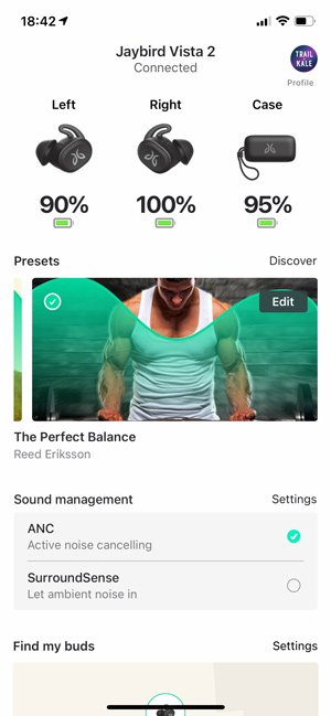 Jaybird Vista 2 App screenshot Trail and Kale