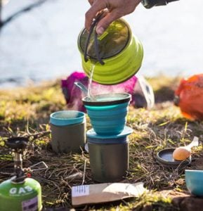 Sea to Summit X Brew Coffee Dripper in Use Cool Camping Gift Ideas for Outdoorsy People